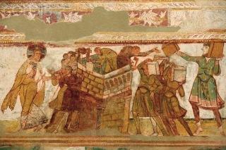 Turnul Babel apare desenat inca din epoca romana, in picturile murale din Saint-Savin