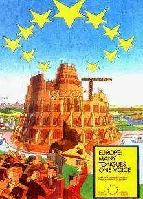 """Posterul UE cu cele 12 stele   intoarse, cu motto-ul:   """"multe limbi o singura voice"""""""