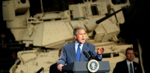 US PRESIDENT BUSH SPEAKS DURING VISIT TO UNITED DEFENSE INDUSTRIES IN CALIFORNIA.