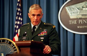 970903-D-9880W-028 Gen. Wesley Clark, U.S. Army, supreme allied commander Europe, briefing the Pentagon press Sept. 3, 1997, on the current situation in Bosnia and Herzegovina.  DoD photo by R. D. Ward.