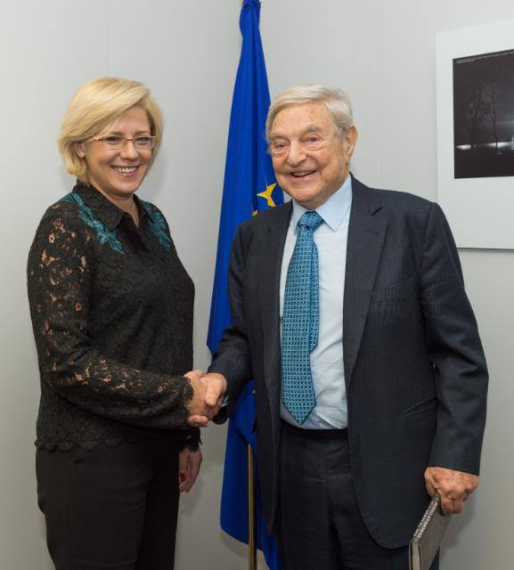 Corina Cretu cu George Soros, la sediul Comisiei Europene